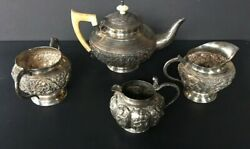 Antique Hand Forged Repousse 4 Pc Sterling Silver Tea Set