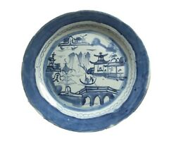 19th Century Chinese Canton Blue And White Porcelain Pagoda Motif Plate 9.5and039 D