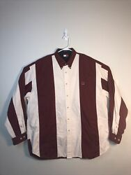 Tommy Hilfiger 90 Vintage Mens XL Striped Colorblock Long Sleeve Button Up Shirt $24.99