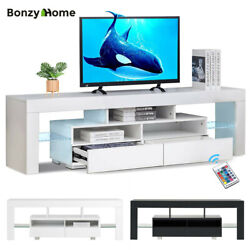 High Gloss Tv Stand Unit Cabinet Console Table W/ Led Lights Drawers For 70 Tv