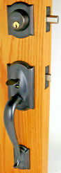 Schlage Camelot Handleset With Plymouth Knob Aged Bronze 7hp
