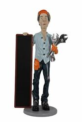 Mechanic With Tools And Menu Board Life Size Statue