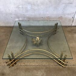 Silas Seandel Coffee Table Mid Century Modern Brutalist Forged Iron Bronze Glass