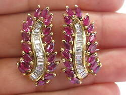 Natural Ruby And Diamond Long Leaf Earrings 14kt Yellow Gold 8.60ct