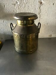 Vintage Dawand039s Creamery Brass Milk Jug Container With Lid