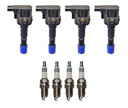 Denso 4 Ignition Coils And 4 Iridium Power Spark Plugs .044 Kit For Honda Fit 1.5l