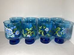 Vintage Libbey Style Green Blue Leaves Flowers Footed Drinking Glasses Set Of 8