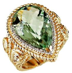 Large 14.41ct Diamond And Aaa Green Amethyst 14kt Yellow Gold 3d Anniversary Ring