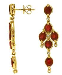 5.70ct Diamond And Aaa Ruby 14kt Yellow Gold Marquise And Round Chandelier Earrings