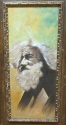J.m. Llorente Old Man With A Beard Original Oil On Canvas Painting