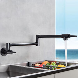 Oil Rubbed Bronze Pot Filler Kitchen Faucet Double Joint Swing Arm Wall Mounted