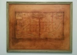 Vintage 1936 Framed Old Map Of Downtown Lynchburg Virginia1700s-1800s 26x20