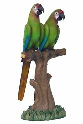 Green Macaw Buffon Lover Parrots On Branch Life Size Statue