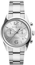 Bell And Ross Vintage Officer Silver Dial Menand039s Watch Brg126-wh-st/sst