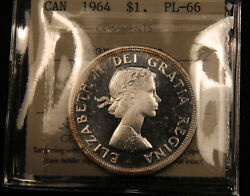 1964 Canada Silver Dollar Pl-66 Heavy Cameo Iccs Certified.