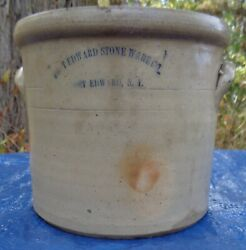 Antique Fort Edward Ny 1 Gallon Stoneware Crock With Applied Handles