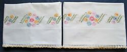 Vintage 1930's Embroidered Pillowcases Flowers Bouquet Tatting Lace Edge