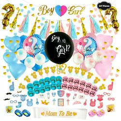 Gender Reveal Party Supplies Baby Shower Boy Or Girl Decoration Set -127 Pieces