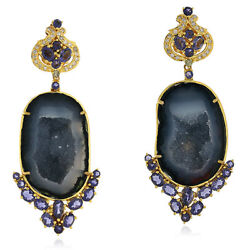 18k Solid Gold Black Geode Iolite Pave Diamond Dangle Earrings Jewelry For Her