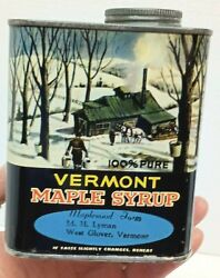 Vtg Vermont Maple Syrup 1 Quart Can Tin Empty 100 Pure With Cap