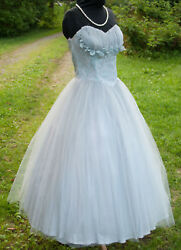 Vintage Party Prom Dress 1950and039s Strapless Light Blue Tulle Lace