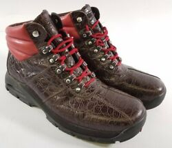 Jordan By Cole Haan Mens Leather Icy Sample Hiking Boots Sz 11.5 Cinder/red