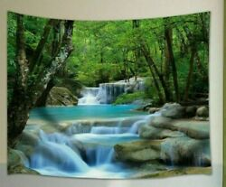 USA River Waterfall Tapestry Mandala Wall Hanging Bedspread Blankets Home Deco