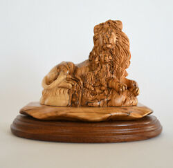 Handmade Olive Wood Lion Lamb Master Figure Statue Carved Decor Holy Wooden Home