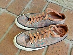 Ladies Women's Size 8 Converse All Stars Brownish Glittery Tennis Shoes