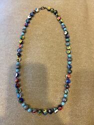 New Handmade Venetian Millefiori Glass Round Bead Knotted Necklace 24 Inches