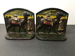 Antique - Cast Iron Bookends- Painted Camel, Palm Trees, Pyramids