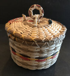 Penobscot Indian Maine Sacred Hoop Basket Ash Animal Totems Signed Abbe Museum