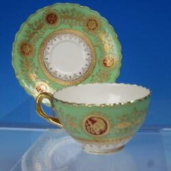 Coalport Bone China - Green With Raised Gold 14156 - Cup And Saucer