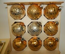 Vintage Pyramid Silver And Gold Glass Ball Christmas Ornaments Glitter Decorated