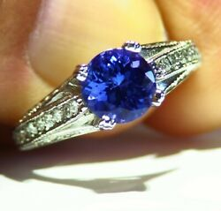 Antique 2.51ct 14k Gold Natural Tanzanite White Diamond Aaa Engagement Ring Deco