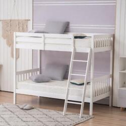 65quot; High Bunk Bed Twin Over Twin for Kids Pine Wood w Ladder Bed Frame White