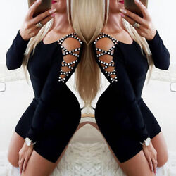 Women#x27;s Long Sleeve Bodycon Pearl Hollow Out Evening Party Cocktail Mini Dress $17.99