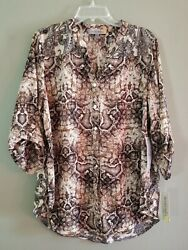 NWT Figueroa Flower XL Animal and Paisley Print Button Up Top