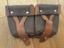 Vintage Mosin Nagant Leather Ammo Double Pouch Ammunition Soviet Russian