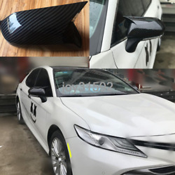 Carbon Fiber Look Side Door Wing Mirror Cover Trim For Toyota Camry 2018 2019-20