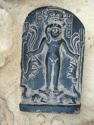 Rare Antique Ancient Egyptian Magic Stela Helps Hunting Protection Gods 1840 Bc