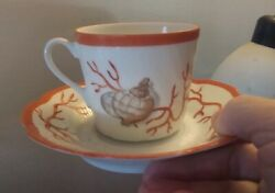 🇫🇷 Antique Limoges France Shell Porcelain Swirl Tea Cup And Saucer