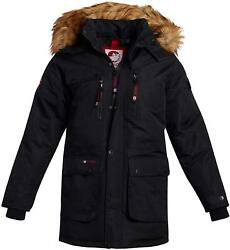 Canada Weather Gear Boys Zipped Snap Flap Insulated Parka W/ Removable Hood, L