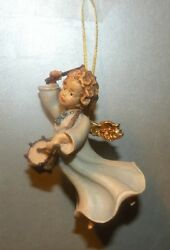 New Angel With Drum For Hanging-10258-g, Wood Figurines Lepi, Italy