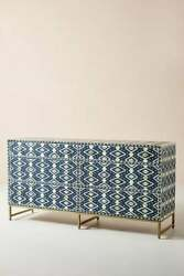 Bone Inlay Ikat Design 6 Drawers Chest Of Drawers Indigo Table For Home Decor