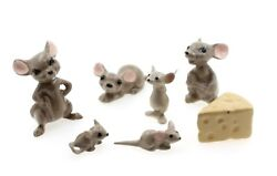 Hagen Renaker Miniature Pottery Mouse Mice Family And Cheese Wedge X8 Figures