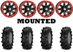 Kit 4 Itp Cryptid Tires 30x9-14/30x11-14 On Sti Hd9 Beadlock Red Wheels Can