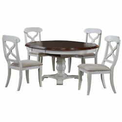 Sunset Trading Andrews 5 Piece Butterfly Leaf Dining Set | Antique White Ad C...
