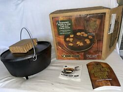 Lodge 14 Camping Dutch Oven Cast Iron Pot Complete In Box