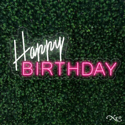 New Happy Birthday 32x15 Led Flex Wall Sign Color Options And Remote Lf034